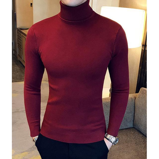 Winter High Neck Thick Warm Sweater Men Turtleneck Brand Mens Sweaters Slim Fit Pullover Men-Sweaters-king-world international trade co.,LTD-MG03 wine red-S-EpicWorldStore.com