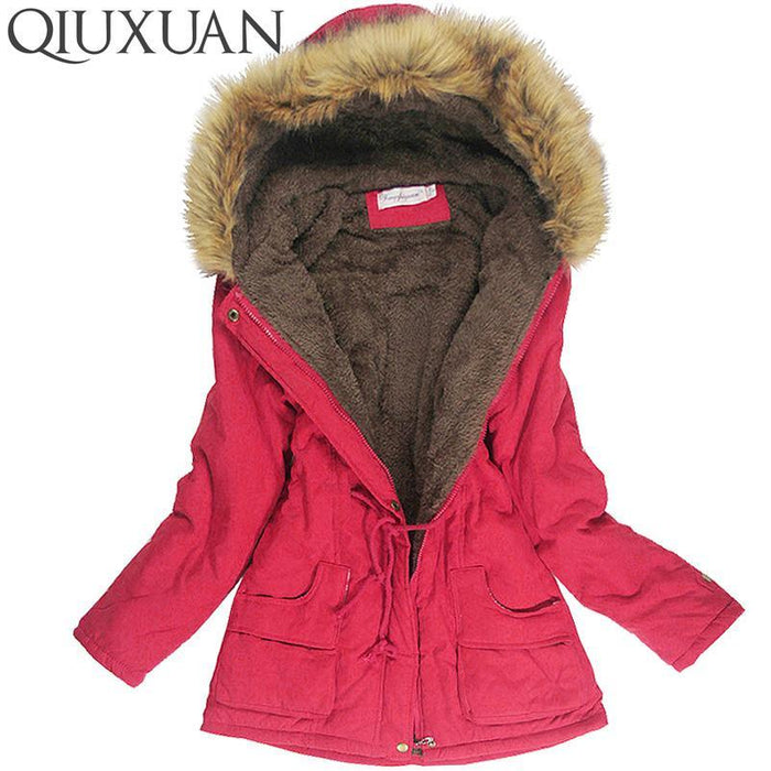 Winter Jacket Women Faux Fur Collar Womens Coats Long Down Parka Lady Hoodies Parkas Warmer-Jackets & Coats-QIUXUAN Official Store-Army Green-S-EpicWorldStore.com