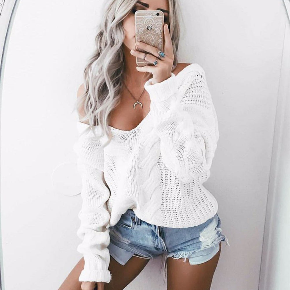 Winter Knitted Sweater Women Autumn White Pullover Sweater Stylish Deep V Neck Long Sleeve-Sweaters-puseky Official Store-S-EpicWorldStore.com