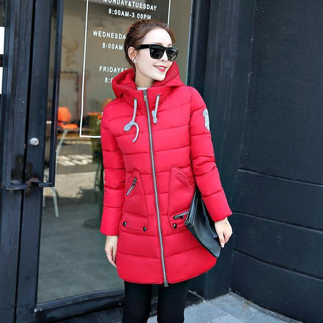 Winter Long Down Jacket Top Quality Pakas Women Long Sleeve Hooded Parka Winter Plus Size-Jackets & Coats-Sweethearts Store-red-XL-EpicWorldStore.com