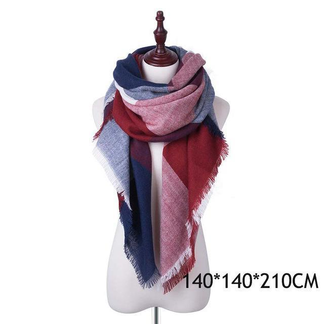 Winter Plaid Womens Scarf Brand Female Cashmere Shawl Winter Scarf For Women Warm Scarves-Accessories-WISHCLUB Store-B-EpicWorldStore.com