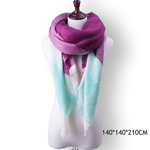 Winter Plaid Womens Scarf Brand Female Cashmere Shawl Winter Scarf For Women Warm Scarves-Accessories-WISHCLUB Store-B18-EpicWorldStore.com