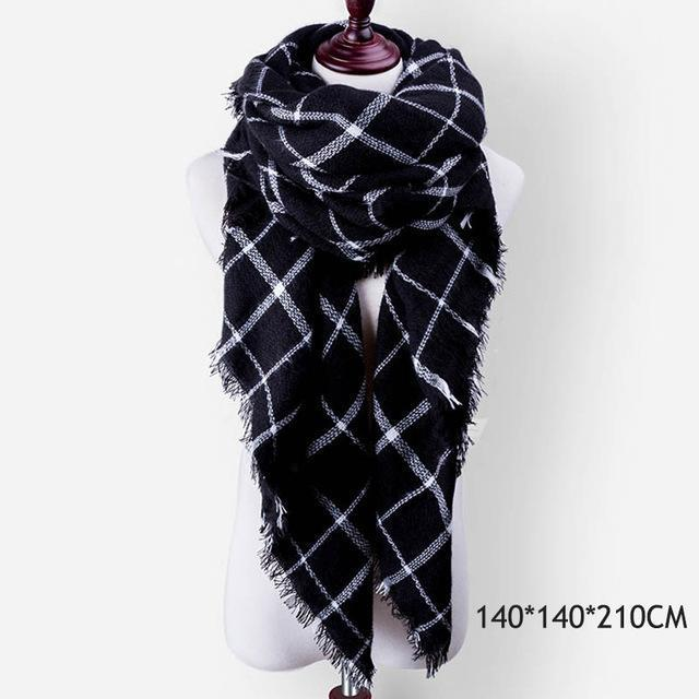 Winter Plaid Womens Scarf Brand Female Cashmere Shawl Winter Scarf For Women Warm Scarves-Accessories-WISHCLUB Store-B43-EpicWorldStore.com