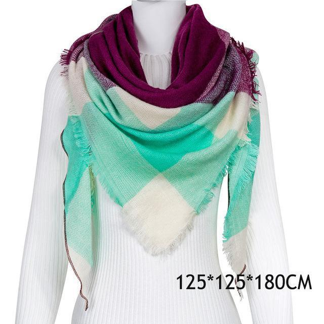 Winter Plaid Womens Scarf Brand Female Cashmere Shawl Winter Scarf For Women Warm Scarves-Accessories-WISHCLUB Store-C18-EpicWorldStore.com