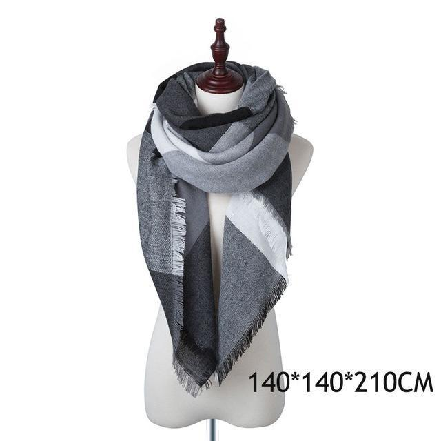 Winter Plaid Womens Scarf Brand Female Cashmere Shawl Winter Scarf For Women Warm Scarves-Accessories-WISHCLUB Store-F-EpicWorldStore.com