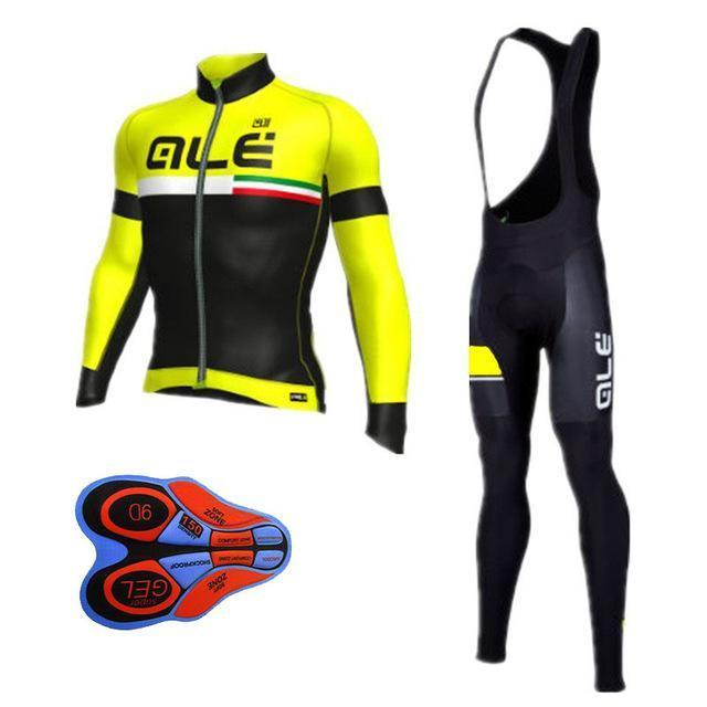 Winter Thermal Cycling Clothing Men Fleece Jersey Bike Bicycle Suits  Cycling Kit Green Yellow-Sports 11056693e