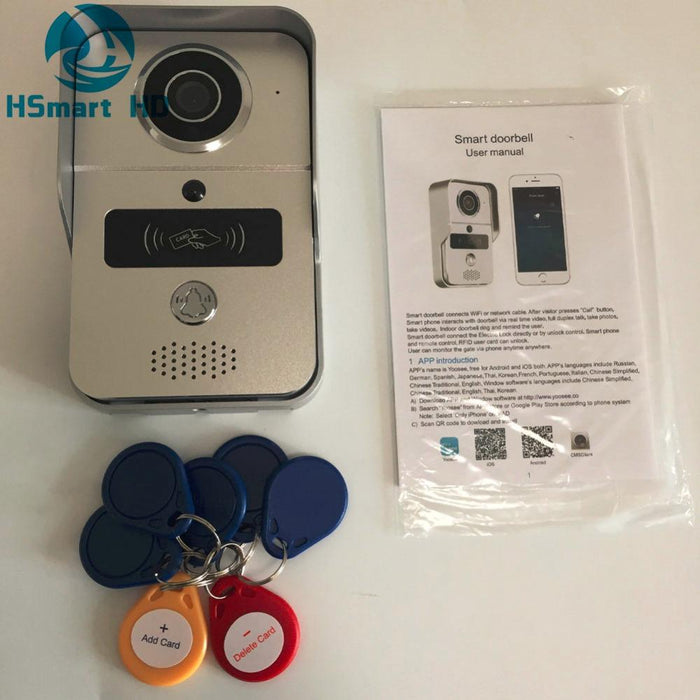 Wireless Sd Card Video Recording Video Door Phone+Rfid Keyfobs+Indoor Bell  Wifi Ip Door Bell Poe