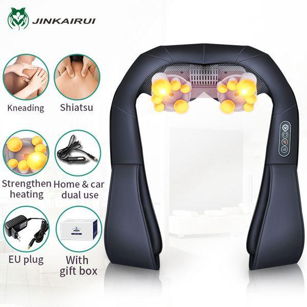 (With Gift Box)Jinkairui U Shape Electrical Shiatsu Back Neck Shoulder Body Massager Infrared Heated-Health Care-Healthy Life-110V-Black2-EpicWorldStore.com