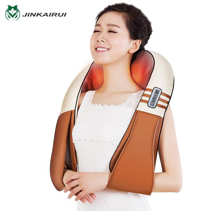 (With Gift Box)Jinkairui U Shape Electrical Shiatsu Back Neck Shoulder Body Massager Infrared Heated-Health Care-Healthy Life-110V-Brown1-EpicWorldStore.com