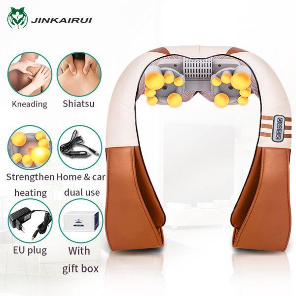 (With Gift Box)Jinkairui U Shape Electrical Shiatsu Back Neck Shoulder Body Massager Infrared Heated-Health Care-Healthy Life-110V-Brown2-EpicWorldStore.com