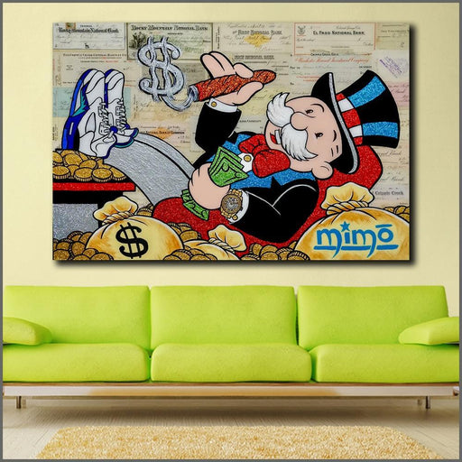 Wlong Large Size Oil Painting Monopoly 2 Graffiti Wall Art Picture Home Decor Living Room Modern-Painting & Calligraphy-XKART Store-12X18-EpicWorldStore.com