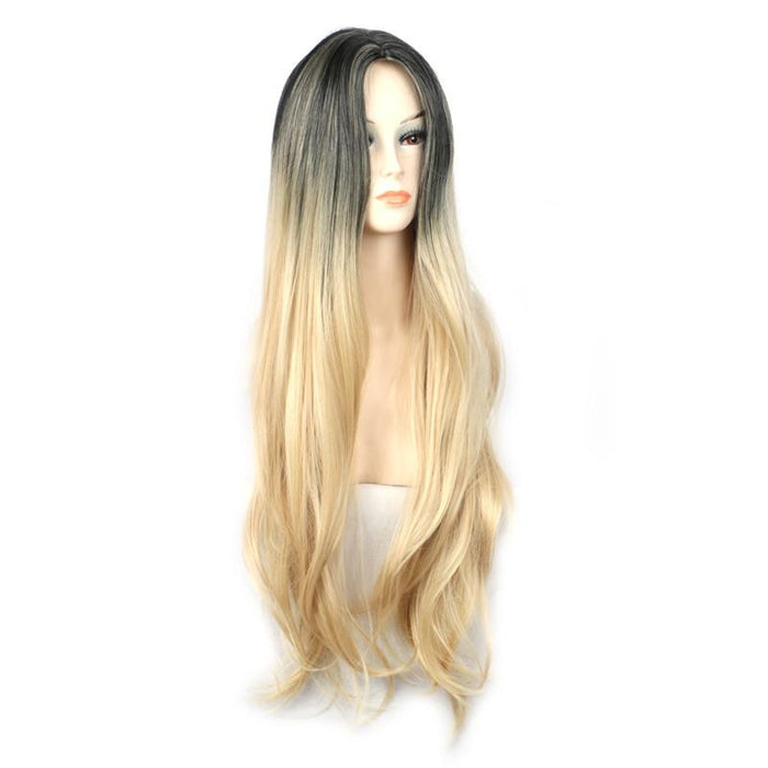 Woman Straight Ombre Long Blonde Wig Dark Roots Blonde Hair Cosplay Women  Synthetic Wigs Heat- 9f23c1821c