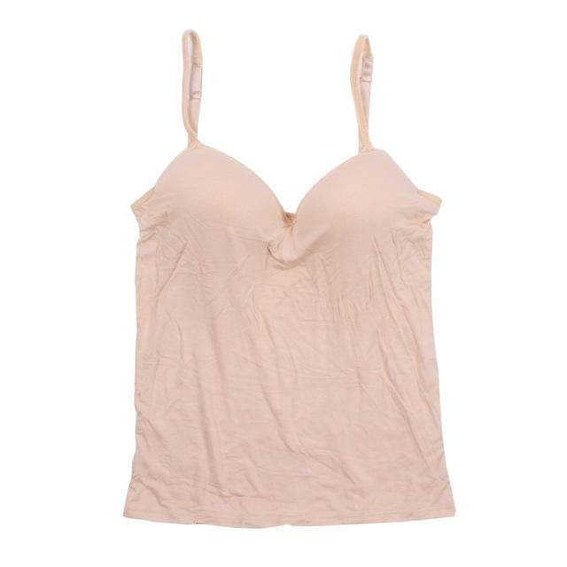 Women Adjustable Strap Built In Bra Padded Bra Modal Tank Top Camisole Cami-Tops & Tees-Oasis ok-F-M-EpicWorldStore.com