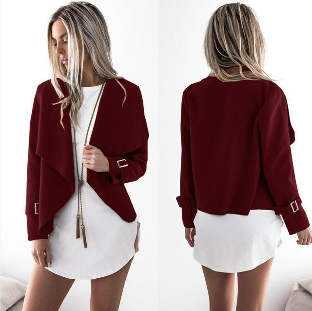 Women Autumn Cardigan Jacket Women Long Sleeve Outerwear Coats Turn-Down Collar Winter Casual-Jackets & Coats-Top Super-Wine Red-S-EpicWorldStore.com