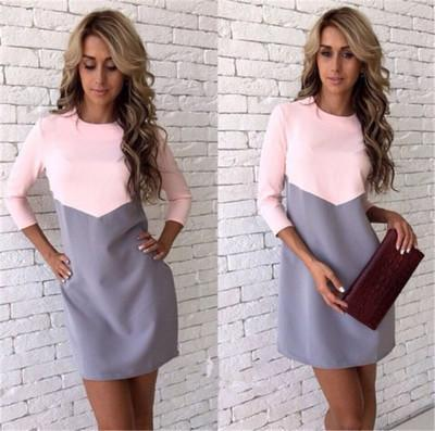 Women Autumn Winter Dress Stylish Casual Patchwork Mini Dress O-Neck Three Quarter Sleeve Bodycon-Dresses-Four Seasons E-Store-Pink Gray-S-EpicWorldStore.com