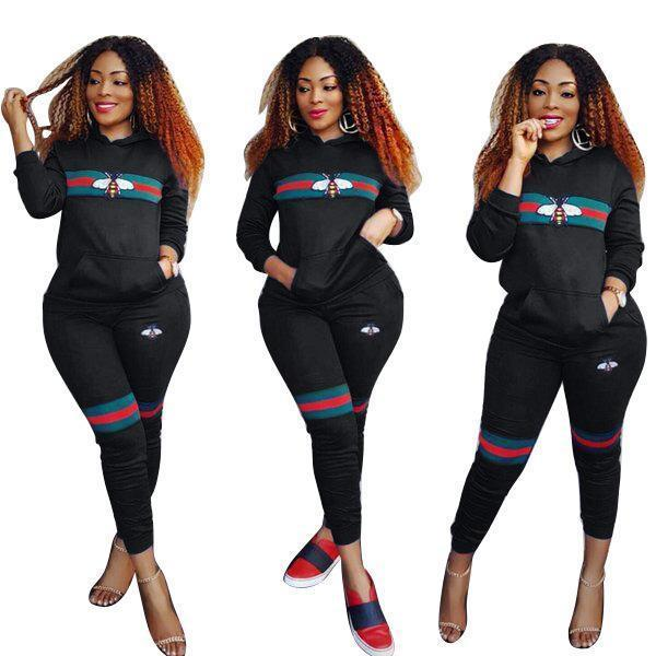 Women Bee Print Tracksuits Sportwear Spring Women Two Piece Sets Long Sleeve Costumes Female-Suits & Sets-Funny Costume Store-Black-S-EpicWorldStore.com
