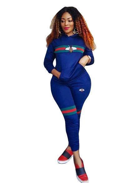 Women Bee Print Tracksuits Sportwear Spring Women Two Piece Sets Long Sleeve Costumes Female-Suits & Sets-Funny Costume Store-Blue-S-EpicWorldStore.com