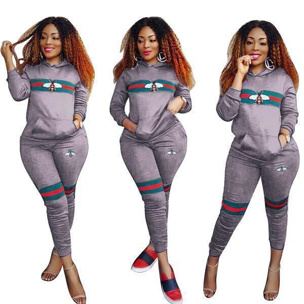 Women Bee Print Tracksuits Sportwear Spring Women Two Piece Sets Long Sleeve Costumes Female-Suits & Sets-Funny Costume Store-Gray-S-EpicWorldStore.com