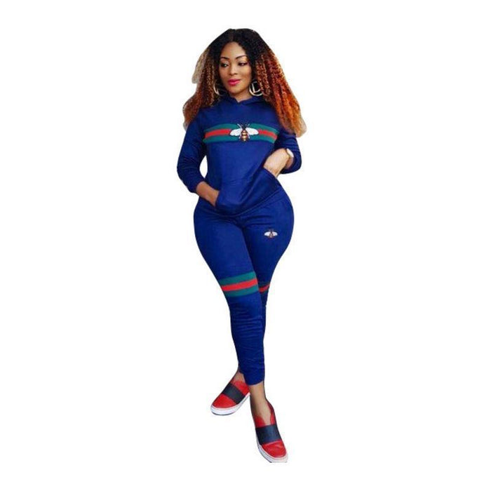 Women Bee Print Tracksuits Sportwear Spring Women Two Piece Sets Long Sleeve Costumes Female-Suits & Sets-Funny Costume Store-Red-S-EpicWorldStore.com