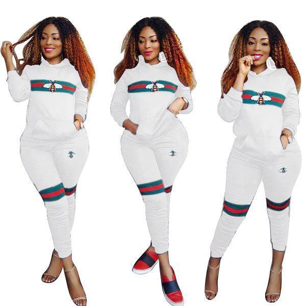 Women Bee Print Tracksuits Sportwear Spring Women Two Piece Sets Long Sleeve Costumes Female-Suits & Sets-Funny Costume Store-White-S-EpicWorldStore.com