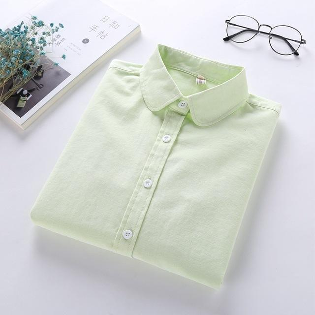 Women Blouse New Casual Brand Long Sleeve Oxford White Blue Shirt Woman Office Wear Shirts High-Blouses & Shirts-brave chung's store-Green-S-EpicWorldStore.com