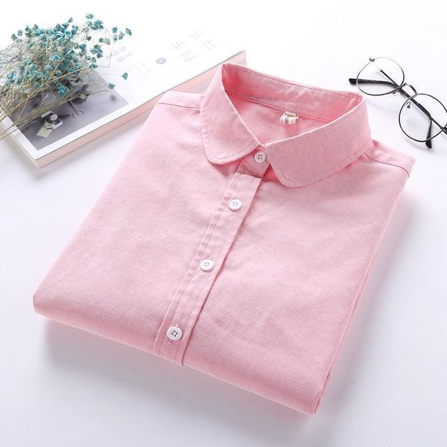 Women Blouse New Casual Brand Long Sleeve Oxford White Blue Shirt Woman Office Wear Shirts High-Blouses & Shirts-brave chung's store-watermelon red-S-EpicWorldStore.com