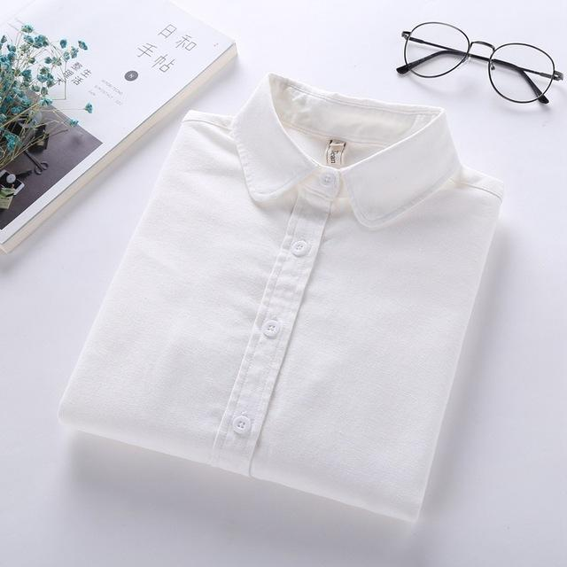 Women Blouse New Casual Brand Long Sleeve Oxford White Blue Shirt Woman Office Wear Shirts High-Blouses & Shirts-brave chung's store-White-S-EpicWorldStore.com