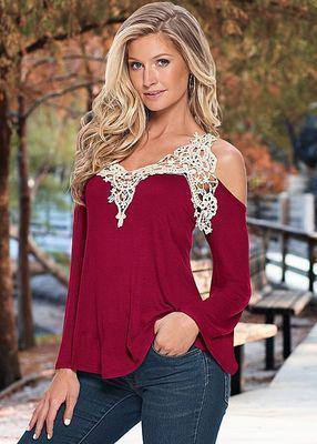 Women Blouse Shirt Top Solid Stylish Floral Lace Off Shoulder Blue Shirt Streetwear Long Sleeve-Blouses & Shirts-Shop2901013 Store-wine red-S-EpicWorldStore.com