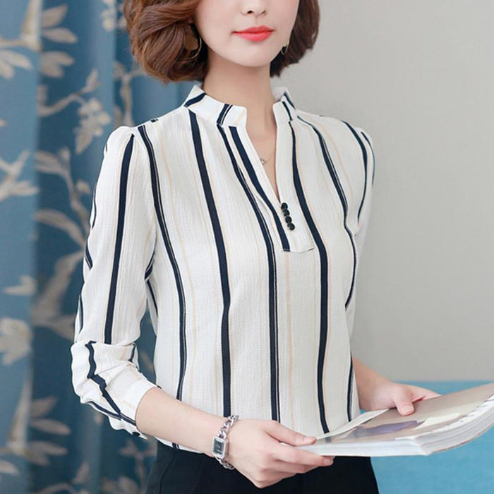 Women Blouse Shirts Long Sleeve Blusas Chiffon Womens Office Blouses Print Striped Dot-Blouses & Shirts-foxmertor factory Store-Color 1-S-EpicWorldStore.com