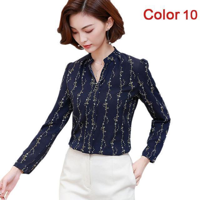 Women Blouse Shirts Long Sleeve Blusas Chiffon Womens Office Blouses Print Striped Dot-Blouses & Shirts-foxmertor factory Store-Color 10-S-EpicWorldStore.com