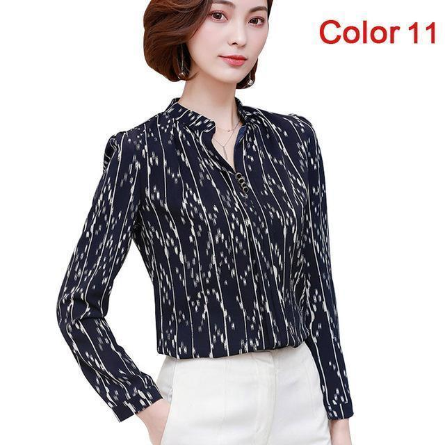 Women Blouse Shirts Long Sleeve Blusas Chiffon Womens Office Blouses Print Striped Dot-Blouses & Shirts-foxmertor factory Store-Color 11-S-EpicWorldStore.com