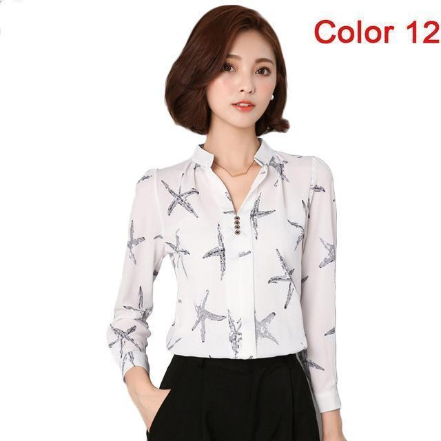 Women Blouse Shirts Long Sleeve Blusas Chiffon Womens Office Blouses Print Striped Dot-Blouses & Shirts-foxmertor factory Store-Color 12-S-EpicWorldStore.com