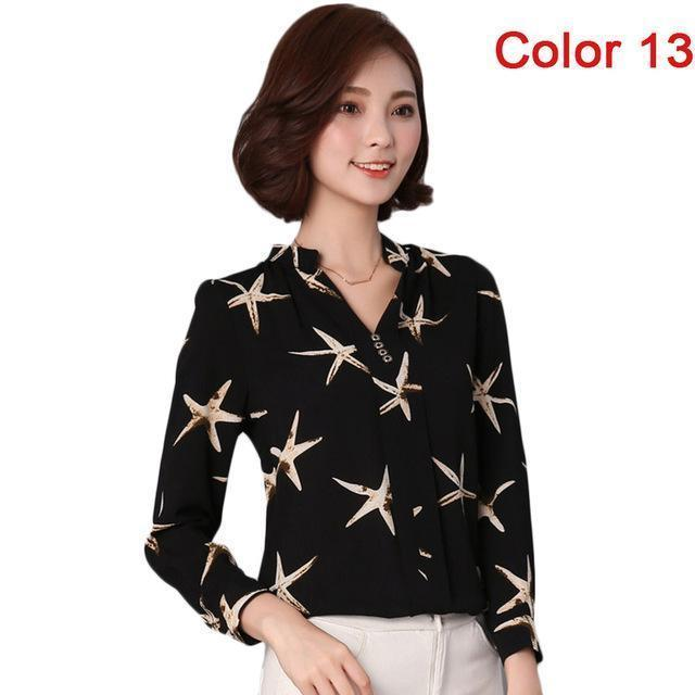 Women Blouse Shirts Long Sleeve Blusas Chiffon Womens Office Blouses Print Striped Dot-Blouses & Shirts-foxmertor factory Store-Color 13-S-EpicWorldStore.com