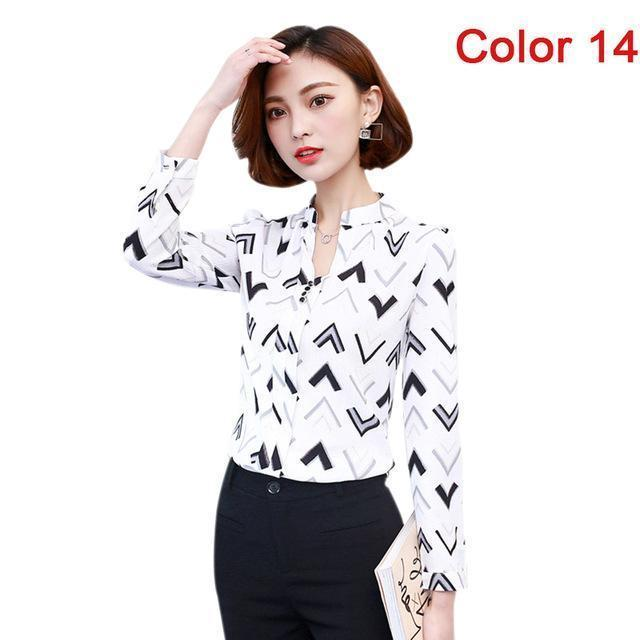 Women Blouse Shirts Long Sleeve Blusas Chiffon Womens Office Blouses Print Striped Dot-Blouses & Shirts-foxmertor factory Store-Color 14-S-EpicWorldStore.com