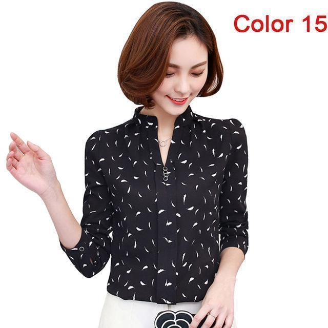 Women Blouse Shirts Long Sleeve Blusas Chiffon Womens Office Blouses Print Striped Dot-Blouses & Shirts-foxmertor factory Store-Color 15-S-EpicWorldStore.com