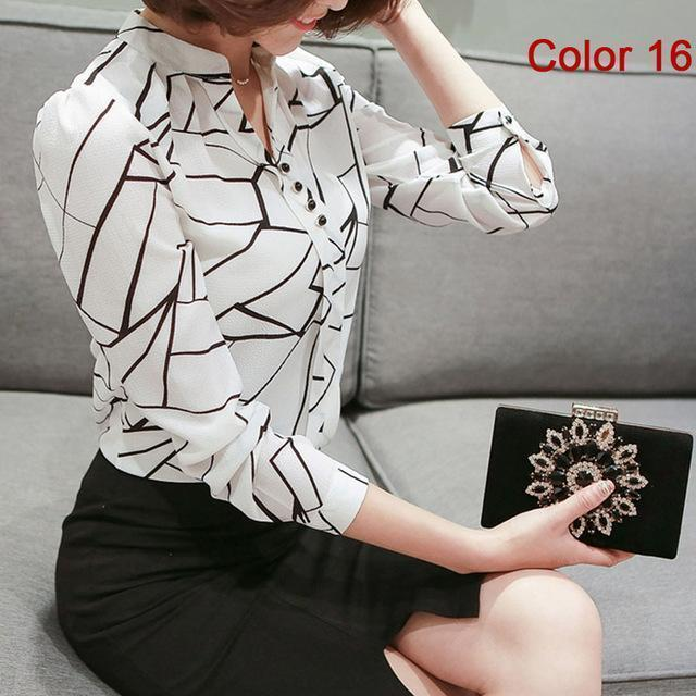 Women Blouse Shirts Long Sleeve Blusas Chiffon Womens Office Blouses Print Striped Dot-Blouses & Shirts-foxmertor factory Store-Color 16-S-EpicWorldStore.com
