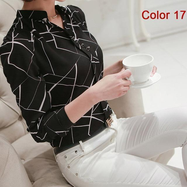 Women Blouse Shirts Long Sleeve Blusas Chiffon Womens Office Blouses Print Striped Dot-Blouses & Shirts-foxmertor factory Store-Color 17-S-EpicWorldStore.com