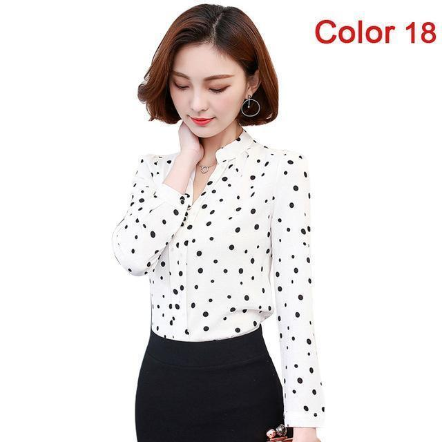 Women Blouse Shirts Long Sleeve Blusas Chiffon Womens Office Blouses Print Striped Dot-Blouses & Shirts-foxmertor factory Store-Color 18-S-EpicWorldStore.com