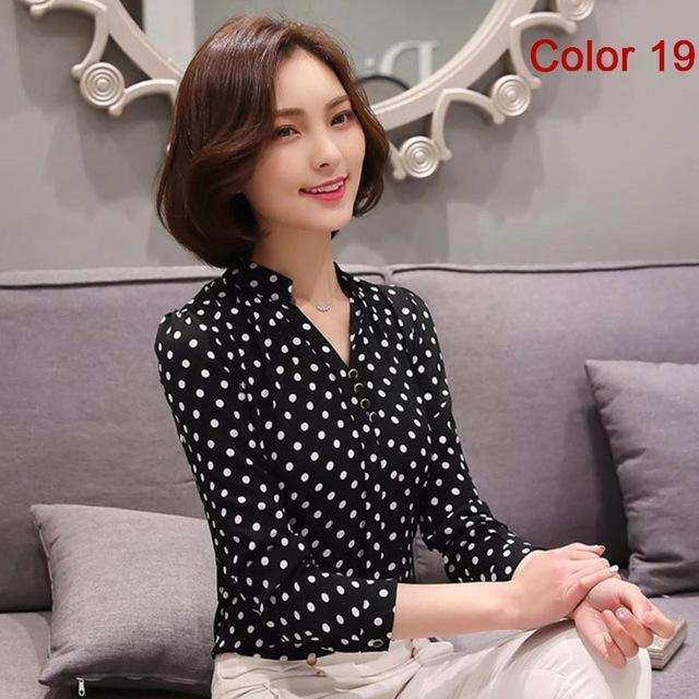 Women Blouse Shirts Long Sleeve Blusas Chiffon Womens Office Blouses Print Striped Dot-Blouses & Shirts-foxmertor factory Store-Color 19-S-EpicWorldStore.com