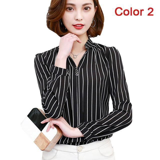 Women Blouse Shirts Long Sleeve Blusas Chiffon Womens Office Blouses Print Striped Dot-Blouses & Shirts-foxmertor factory Store-Color 2-S-EpicWorldStore.com