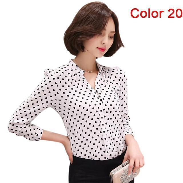 Women Blouse Shirts Long Sleeve Blusas Chiffon Womens Office Blouses Print Striped Dot-Blouses & Shirts-foxmertor factory Store-Color 20-S-EpicWorldStore.com