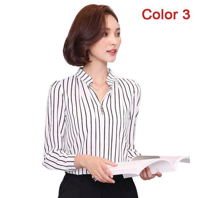 Women Blouse Shirts Long Sleeve Blusas Chiffon Womens Office Blouses Print Striped Dot-Blouses & Shirts-foxmertor factory Store-Color 3-S-EpicWorldStore.com