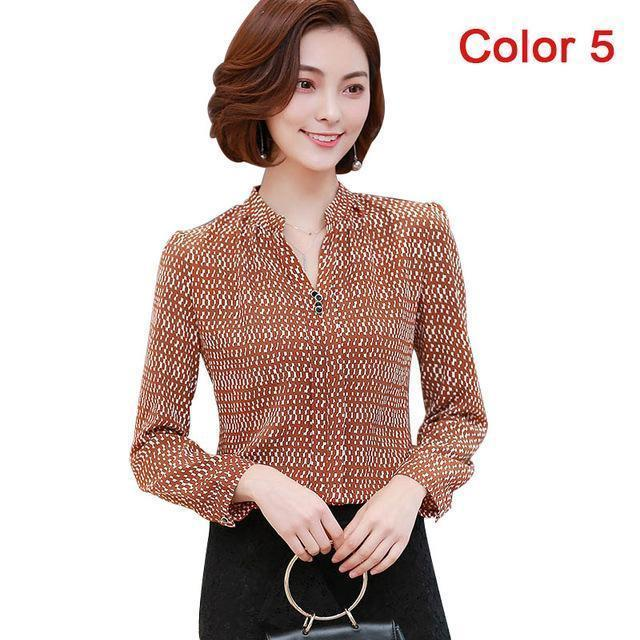 Women Blouse Shirts Long Sleeve Blusas Chiffon Womens Office Blouses Print Striped Dot-Blouses & Shirts-foxmertor factory Store-Color 5-S-EpicWorldStore.com