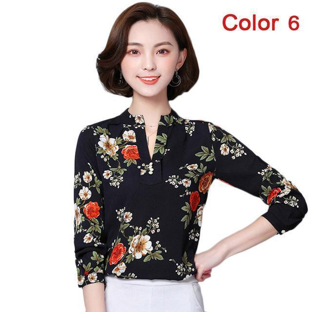 Women Blouse Shirts Long Sleeve Blusas Chiffon Womens Office Blouses Print Striped Dot-Blouses & Shirts-foxmertor factory Store-Color 6-S-EpicWorldStore.com