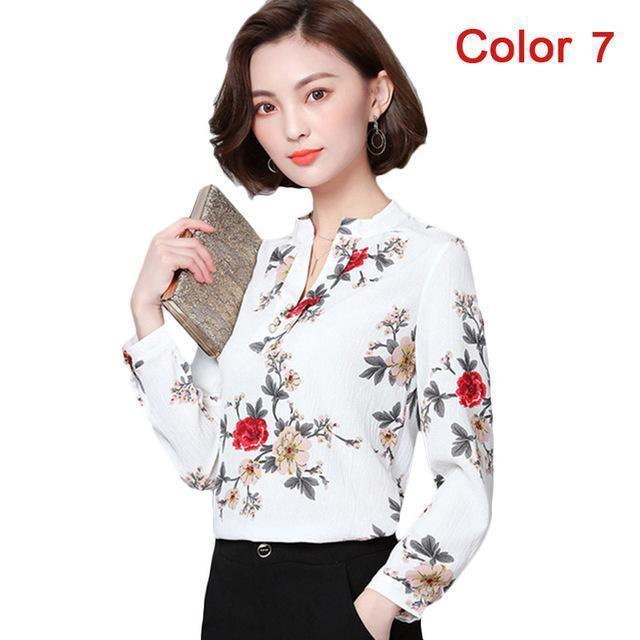 Women Blouse Shirts Long Sleeve Blusas Chiffon Womens Office Blouses Print Striped Dot-Blouses & Shirts-foxmertor factory Store-Color 7-S-EpicWorldStore.com