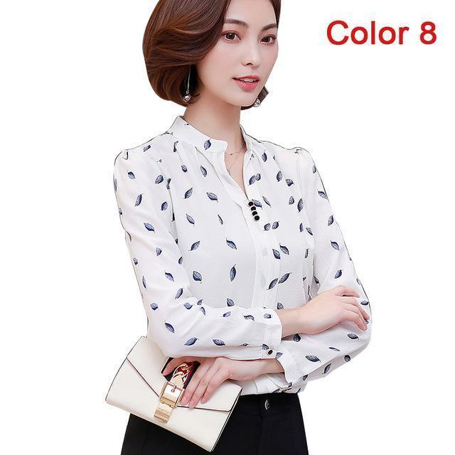 Women Blouse Shirts Long Sleeve Blusas Chiffon Womens Office Blouses Print Striped Dot-Blouses & Shirts-foxmertor factory Store-Color 8-S-EpicWorldStore.com