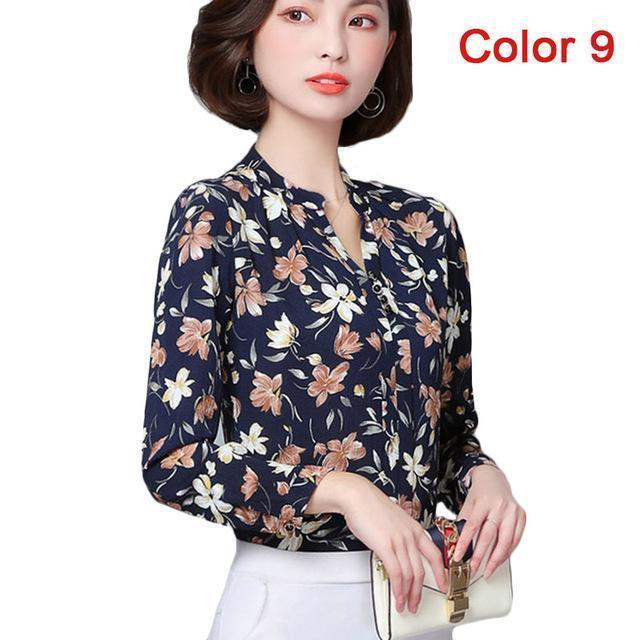 Women Blouse Shirts Long Sleeve Blusas Chiffon Womens Office Blouses Print Striped Dot-Blouses & Shirts-foxmertor factory Store-Color 9-S-EpicWorldStore.com