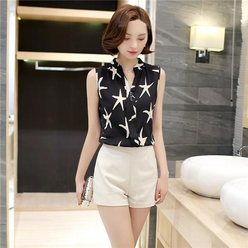 Women Blouses And Shirts Summer Korean Elegant Sleeveless Flower/Butterfly/Plaid Print Shirt-Blouses & Shirts-BF Fashion-black star-S-EpicWorldStore.com