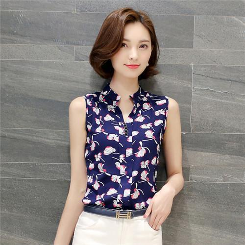 Women Blouses And Shirts Summer Korean Elegant Sleeveless Flower/Butterfly/Plaid Print Shirt-Blouses & Shirts-BF Fashion-blue leaf-S-EpicWorldStore.com