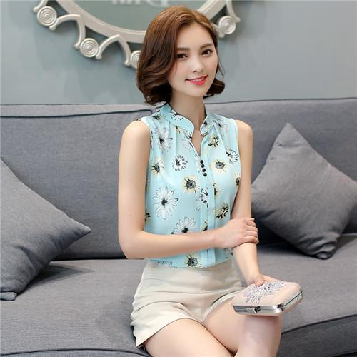 Women Blouses And Shirts Summer Korean Elegant Sleeveless Flower/Butterfly/Plaid Print Shirt-Blouses & Shirts-BF Fashion-green flower-S-EpicWorldStore.com